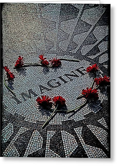Imagine Greeting Cards - Lennon Memorial Greeting Card by Chris Lord