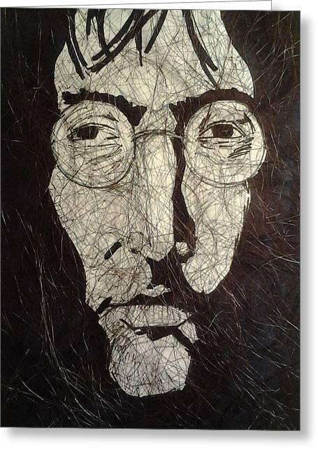 John Lennon Art Drawings Greeting Cards - Lennon Greeting Card by Nzephany Madrigal Uzoka