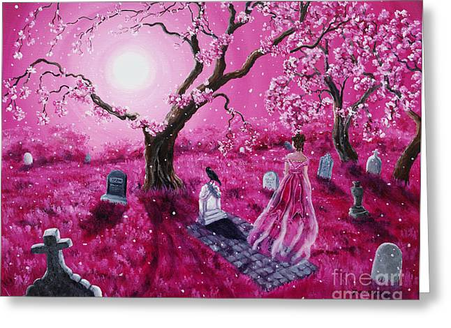 Cherry Blossoms Paintings Greeting Cards - Lenore in the Breaking Dawn Greeting Card by Laura Iverson