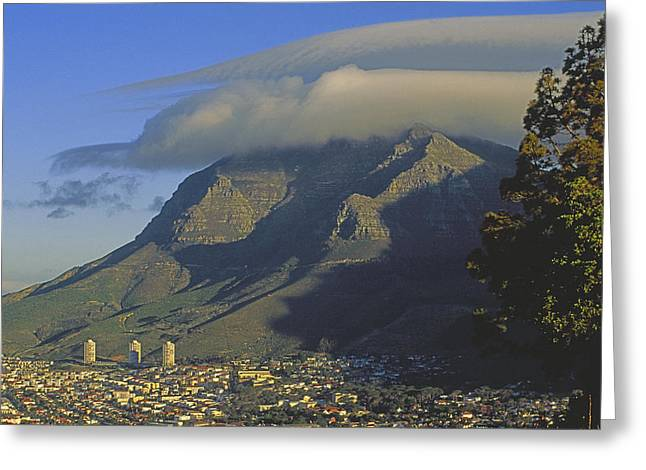 Cape Town Greeting Cards - Lenticular Cloud Over Table Mountain Greeting Card by Gordon Wiltsie