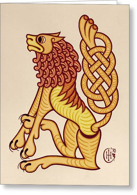 Knotwork Greeting Cards - Leo Greeting Card by Ian Herriott