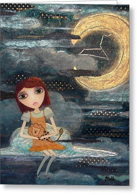 Metaphysics Mixed Media Greeting Cards - Leo Greeting Card by Laura Bell