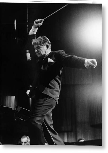 Philharmonic Greeting Cards - Leonard Bernstein Greeting Card by Granger