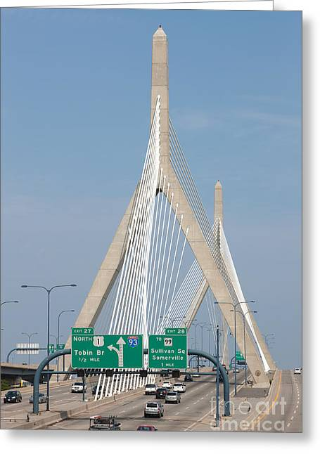 Bunker Hill Greeting Cards - Leonard P. Zakim Bunker Hill Bridge I Greeting Card by Clarence Holmes