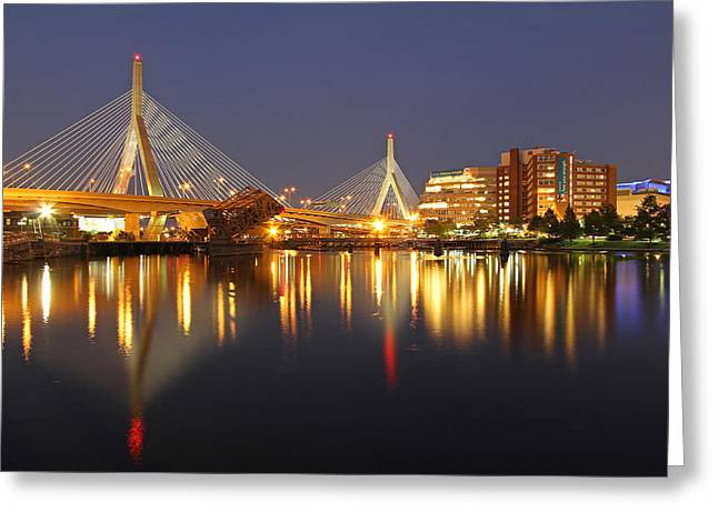 Bunker Hill Greeting Cards - Leonard P. Zakim Bunker Hill Memorial Bridge Greeting Card by Juergen Roth