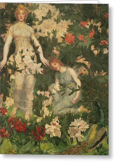 Epicurus Greeting Cards - Leontium and Ternissa in the Garden of Epicurus Greeting Card by William Stott