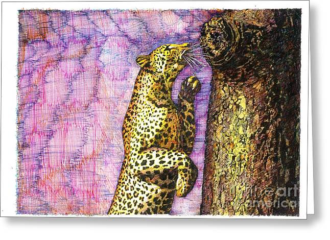 Golden Leopard Greeting Cards - Leopard Scampered Greeting Card by Richard Stratford