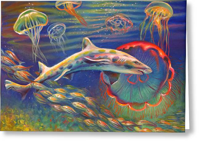 Jelly Fish Paintings Greeting Cards - Leopard Shark and Jellyfish Greeting Card by Nancy Tilles
