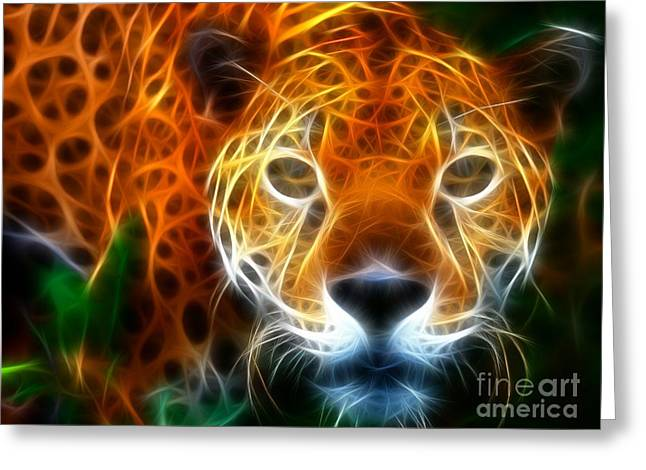 Feline Mixed Media Greeting Cards - Leopard Watching at his Prey Greeting Card by Pamela Johnson