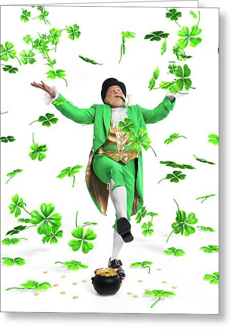 Lottery Greeting Cards - Leprechaun Tossing Shamrock Leaves up in the Air Greeting Card by Oleksiy Maksymenko