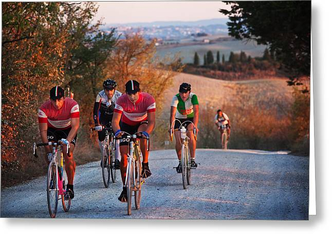 Bicycling Tuscany Greeting Cards - LEroica-Italy Greeting Card by John Galbo