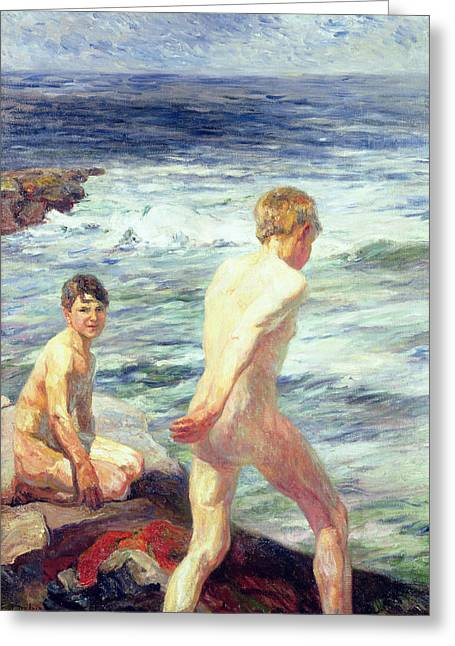 Bathers Greeting Cards - Les Baigneurs Greeting Card by Jean Delvin