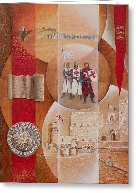 Chevalier Paintings Greeting Cards - Les Croises en chemin Greeting Card by Frank Godille