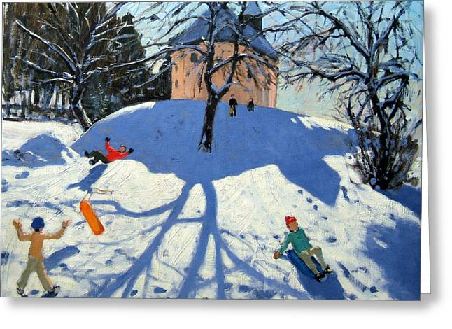 Toboggan Greeting Cards - Les Gets Greeting Card by Andrew Macara