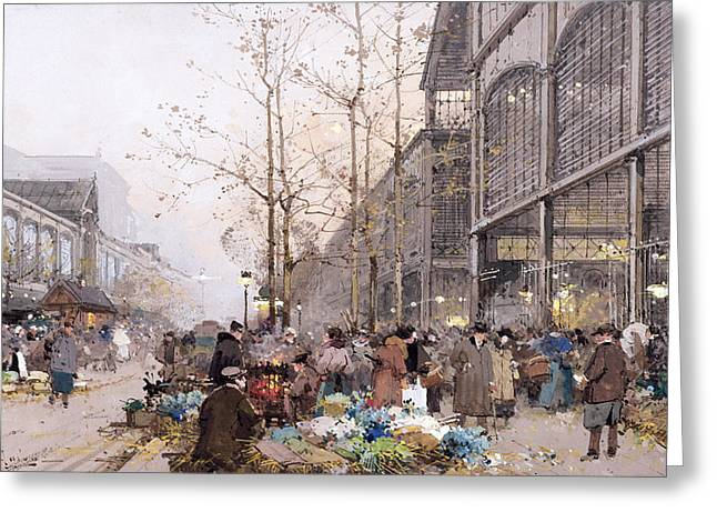 Church Street Greeting Cards - Les Halles and St. Eustache Greeting Card by Eugene Galien-Laloue