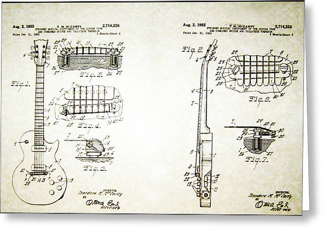 Bill Cannon Greeting Cards - Les Paul Guitar Patent 1955 Greeting Card by Bill Cannon