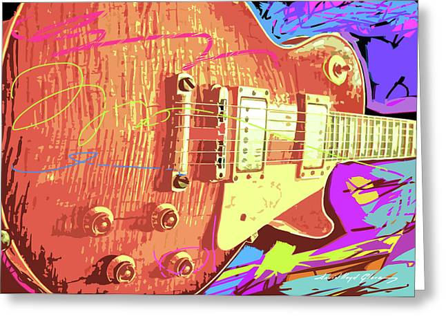 Les Greeting Cards - Les Paul Sunburst Greeting Card by David Lloyd Glover