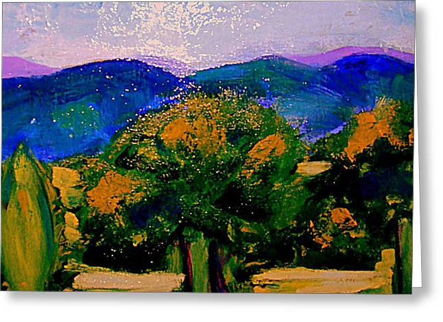 Languedoc Paintings Greeting Cards - Les sombres dapres midi Greeting Card by Rusty Woodward Gladdish