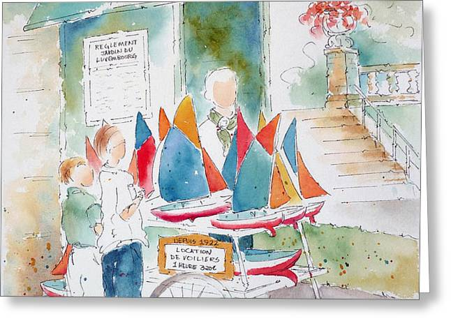 Les Voiliers Jardin du Luxembourg Greeting Card by Pat Katz