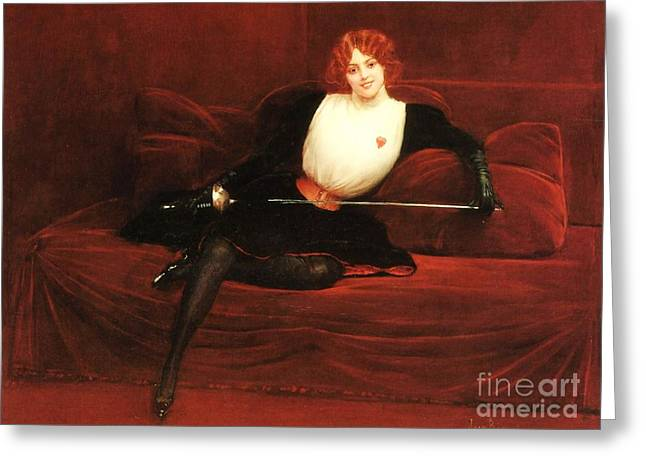 Cushion Paintings Greeting Cards - Lescrimeuse Greeting Card by Pg Reproductions