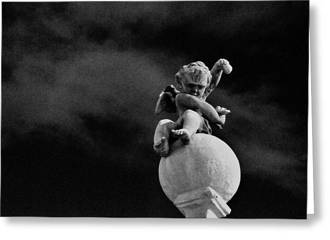 Night Angel Greeting Cards - Lesser Angel Black and White Greeting Card by David Arment
