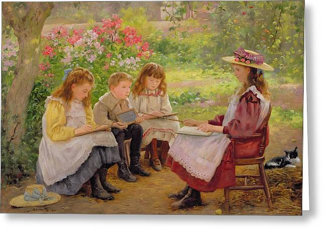 Lesson in the Garden Greeting Card by Ada Shirley Fox