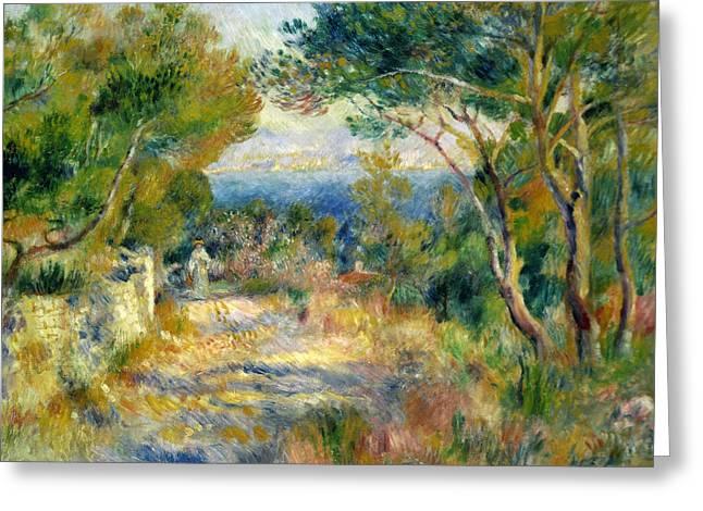Renoir Greeting Cards - LEstaque Greeting Card by Pierre Auguste Renoir