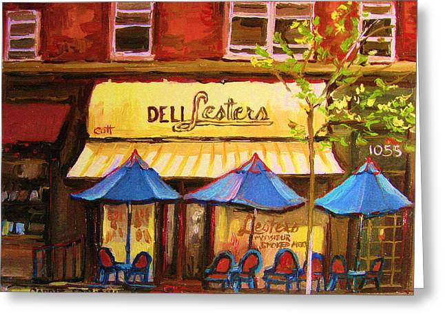 Classical Montreal Scenes Greeting Cards - Lesters Cafe Greeting Card by Carole Spandau