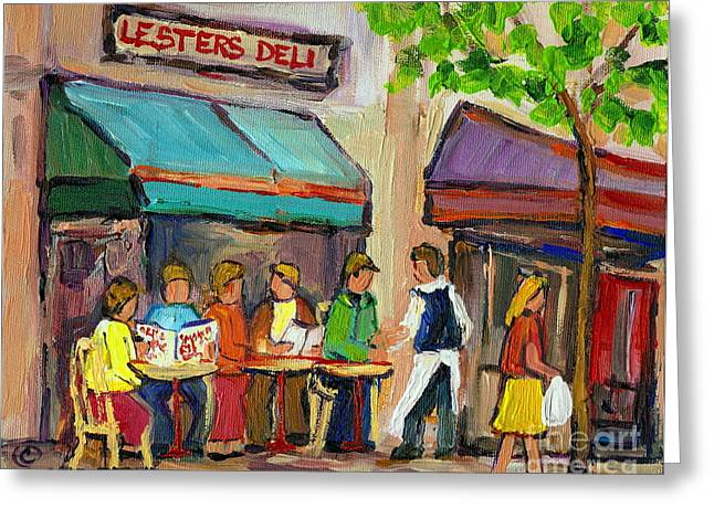 LESTER'S DELI MONTREAL CAFE SUMMER SCENE Greeting Card by CAROLE SPANDAU