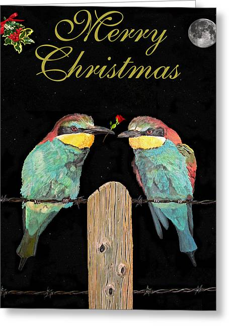 Asia Sculptures Greeting Cards - Lesvos Christmas Birds Greeting Card by Eric Kempson