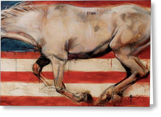 Wild Horse Greeting Cards - Let Freedom Run Greeting Card by Mary Leslie