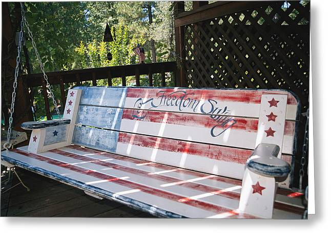 Human Rights Issues And Activities Greeting Cards - Let Freedom Swing Swinging Bench Greeting Card by Gina Martin