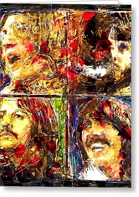 Beatles John Lennon Paul Mccartney George Harrison Ringo Starr Music Rock Icon Greeting Cards - Let it Be Greeting Card by Russell Pierce