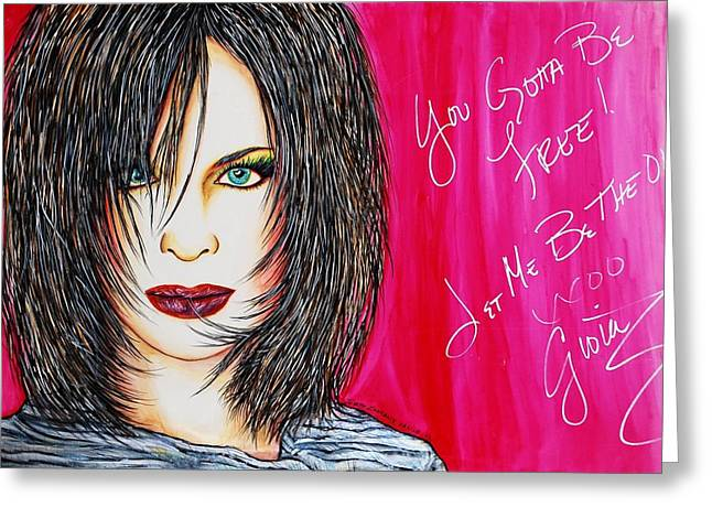 Autographed Mixed Media Greeting Cards - Let Me B Free and the One Greeting Card by Joseph Lawrence Vasile