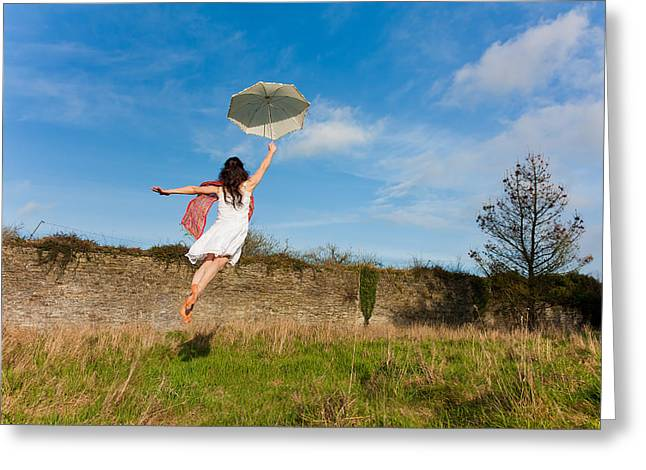 Floating Girl Greeting Cards - Let The Breeze Guide You Greeting Card by Semmick Photo