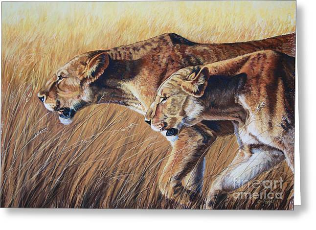 Africa Pastels Greeting Cards - Let the Hunt Begin Greeting Card by Deb LaFogg-Docherty