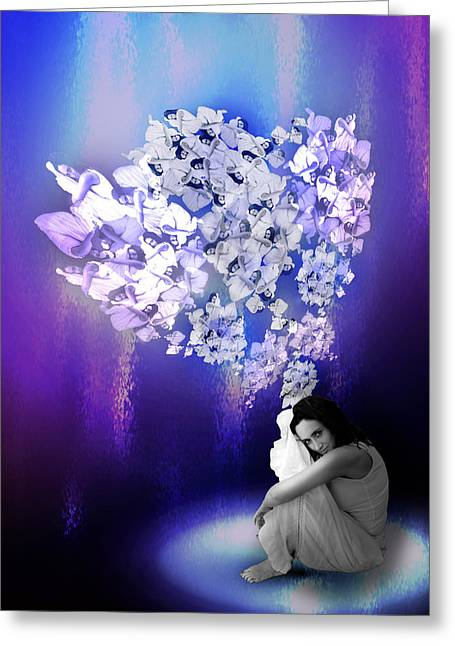 Floating Girl Greeting Cards - Let your dreams fly Greeting Card by Anna Z