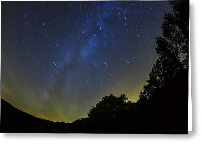 Stars Trail Greeting Cards - Letchworth Star Trails Greeting Card by Rick Berk