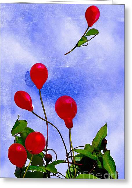 Balloon Flower Digital Art Greeting Cards - Lets fly away Greeting Card by Heiko Mahr