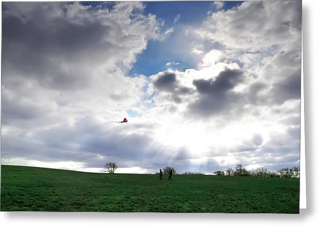 Kites Digital Art Greeting Cards - Lets Go Fly A Kite Greeting Card by Bill Cannon