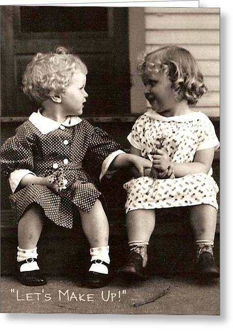 Bff Greeting Cards - Lets Make Up Greeting Card by Joan  Jones
