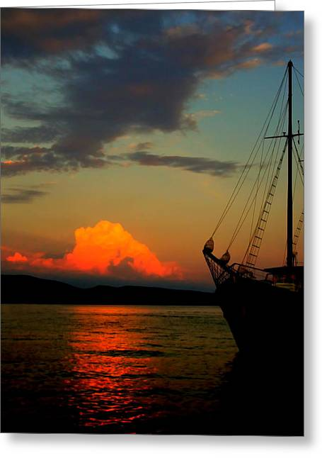 Night Scenes Greeting Cards - Lets sail away Greeting Card by Jasna Buncic