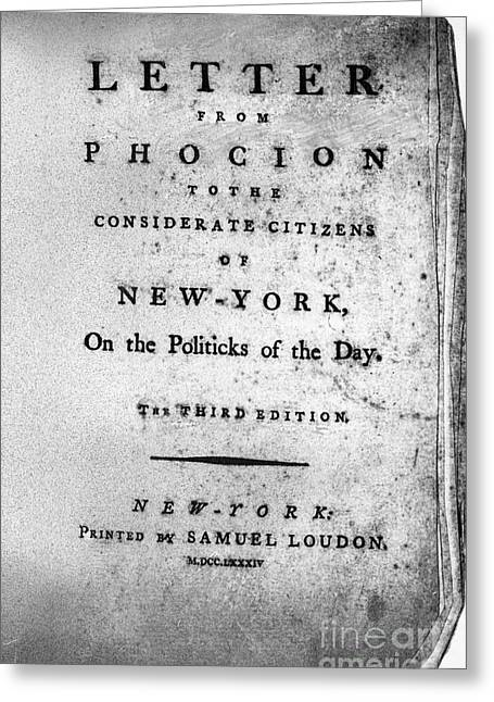 Protest Greeting Cards - Letter From Phocion, 1784 Greeting Card by Granger