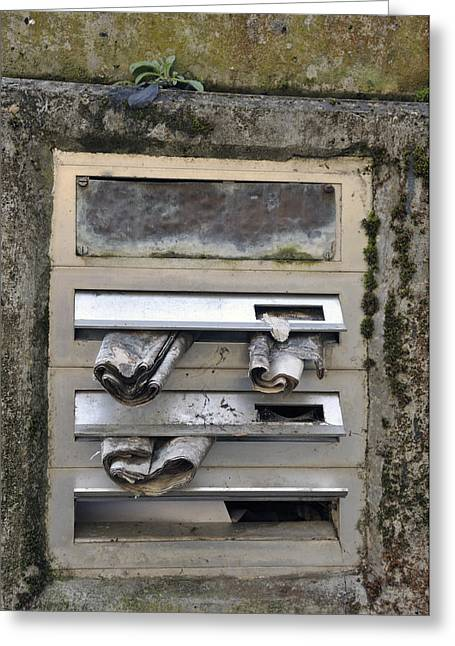 Unoccupied Greeting Cards - Letterbox with old newspapers Greeting Card by Matthias Hauser