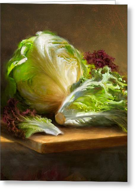 Cooks Illustrated Paintings Greeting Cards - Lettuce Greeting Card by Robert Papp