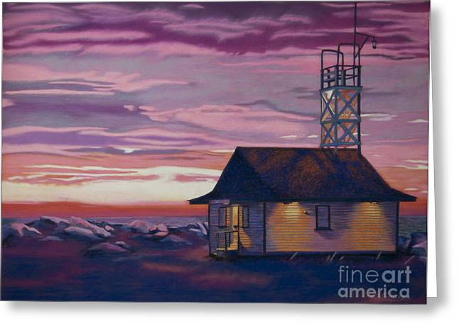 Sunrise Pastels Greeting Cards - Leuty Life Guard House Greeting Card by Tracy L Teeter