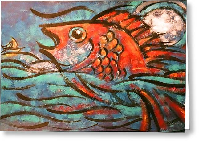 Jonah Paintings Greeting Cards - Leviathan Greeting Card by Patrick Stickney
