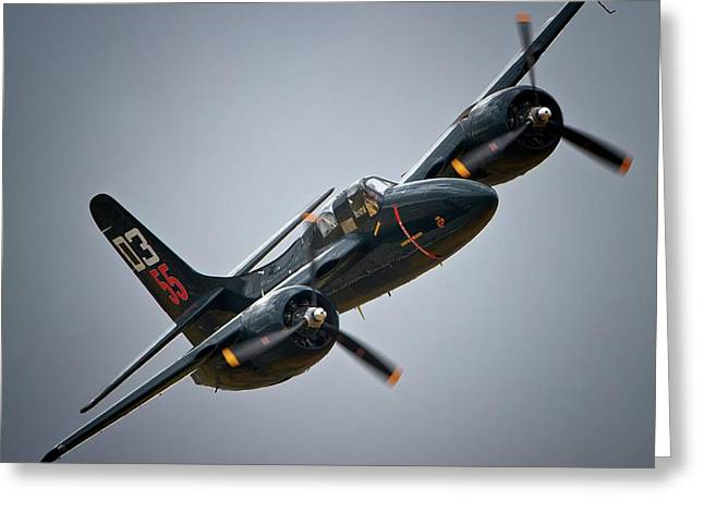 Planes Of Fame Greeting Cards - Lewis Aeronautical LLCs Grumman F7F Tigercat 2011 Chino Air Show Greeting Card by Gus McCrea