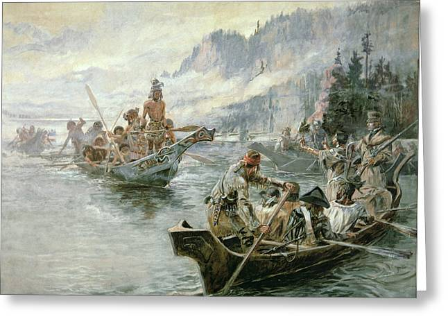 Language Greeting Cards - Lewis and Clark on the Lower Columbia River Greeting Card by Charles Marion Russell