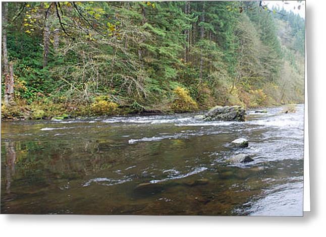 Lewis River Panorama Greeting Card by Twenty Two North Photography